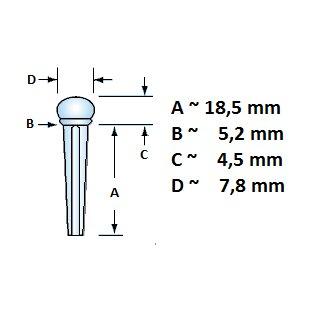 Guitar bridge pin with slot, standard model