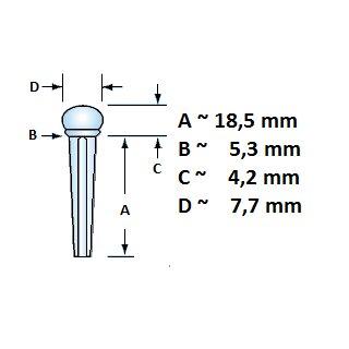 Guitar bridge pin with slot and parisian eye/Abalone
